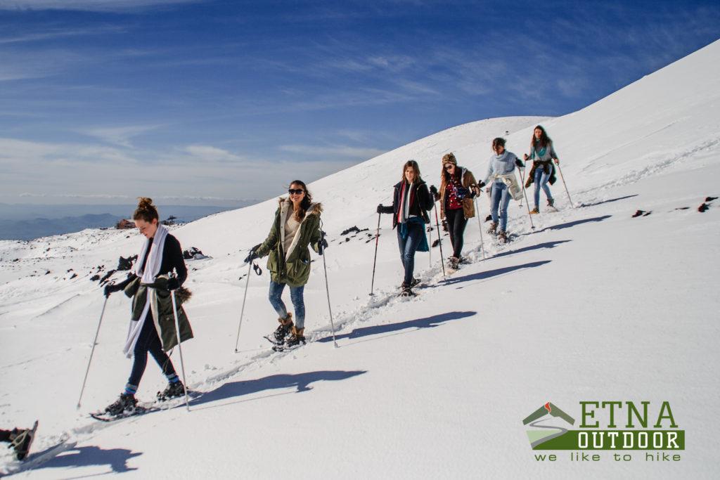 winter trekking, ciaspole etna, neve